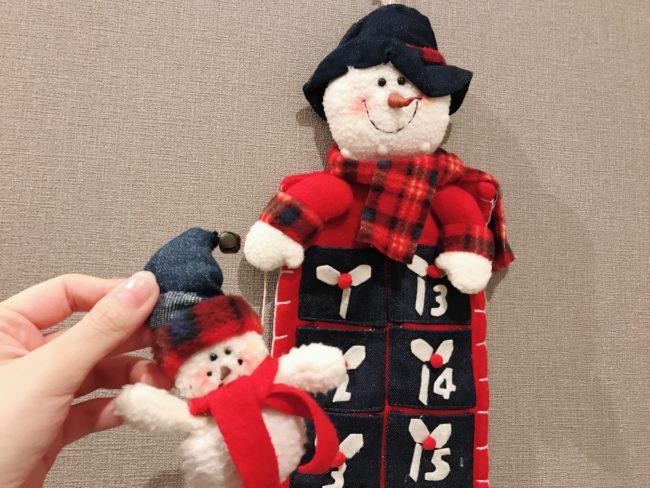 日ごとに雪だるまを移していくアドベントカレンダー