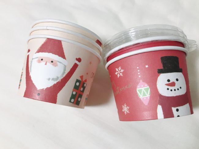ダイソーのクリスマスグッズ 蓋つきカップ